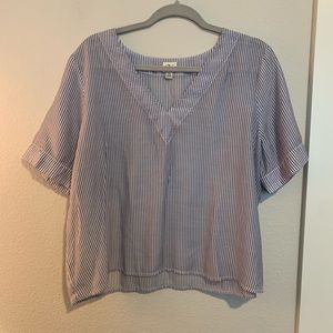 Sheer stripes v neck t shirt